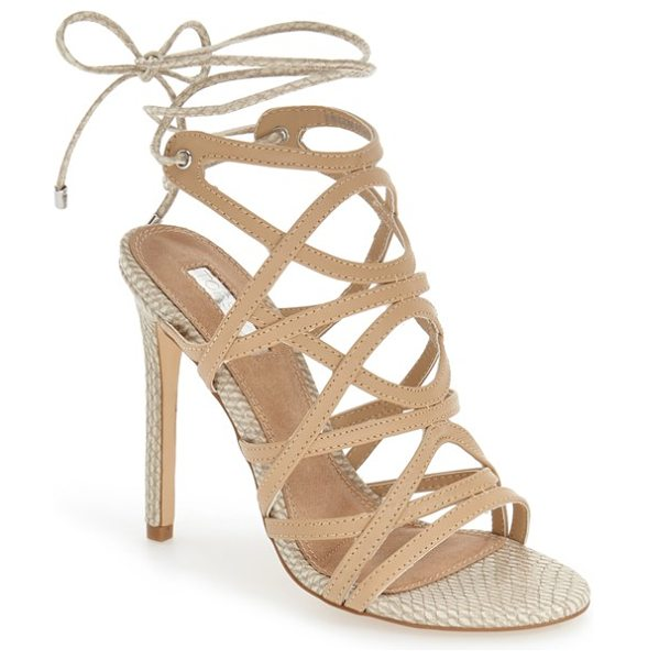 Topshop 'rascal' cage sandal in camel multi - Snake-embossed accents add a hint of exotic allure to a...