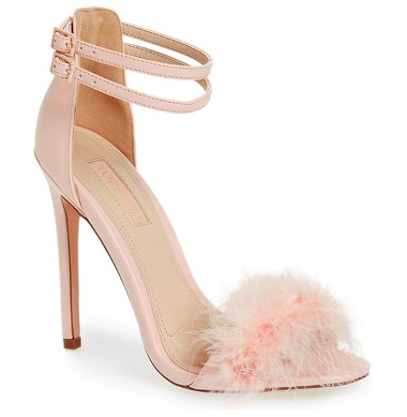 Topshop 'reese' feather sandal in nude - Soft marabou feather trim dials up the drama on a...