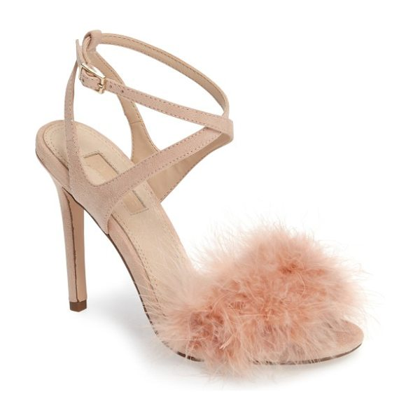 Topshop reine feathered sandal in pink - Soft fluffy feathers respond playfully to every breeze...