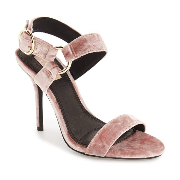 Topshop 'renee' slingback sandal in nude - Luxe velvet and shimmery circular hardware detail this...