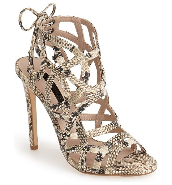 TOPSHOP resort snake embossed sandal in nude - Sinuous, snake-embossed straps add exotic allure to a...