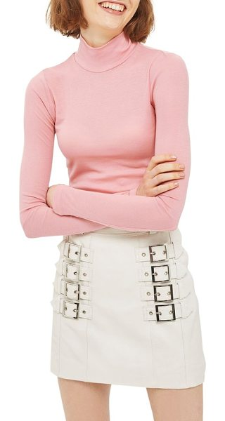 Topshop ribbed turtleneck top in pink - Simple yet chic, this slim-fitting turtleneck is a...