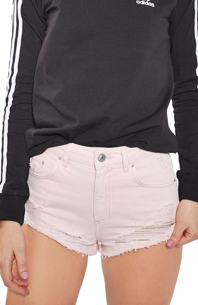 Topshop ripped mini denim shorts in pink - Cheeky cutoff and shredded denim shorts go great with...