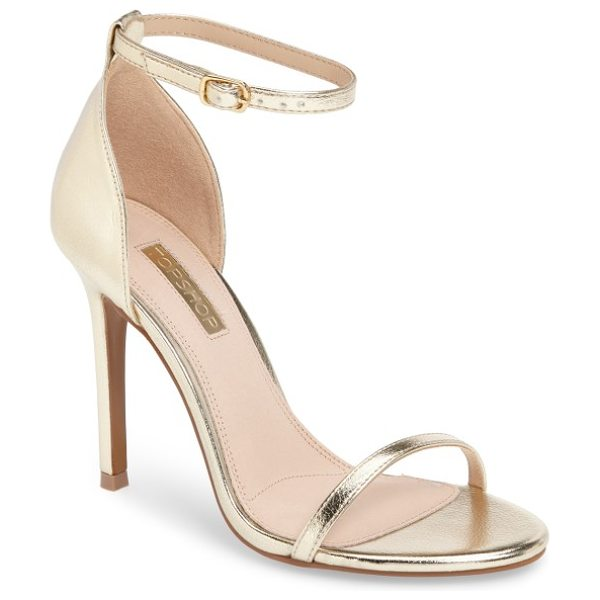 Topshop rosalie ankle strap sandal in gold - A slim ankle strap brings on-trend elegance to a barely...