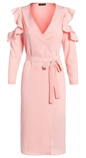 Topshop ruffle cold shoulder wrap dress in light pink - Ruffled cutouts display saucy bare shoulders for...