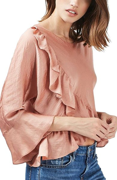 Topshop petite   ruffle satin blouse in pink - Gentle ruffles frame the front, cropped hem and bell...