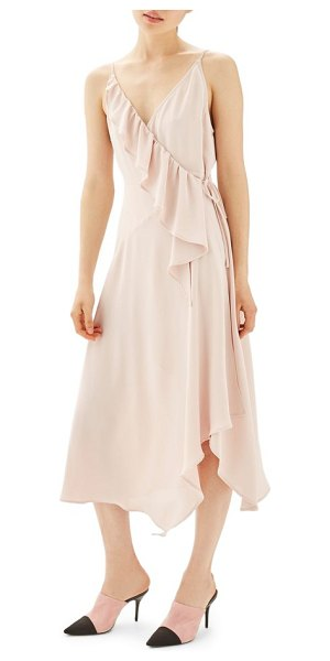 Topshop ruffle wrap slipdress in nude - An entrancing combination of flowy fabric, fluttery...