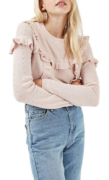 Topshop ruffle yoke sweater in pink - Delicate ruffles join fine pointelle-accented knit for...