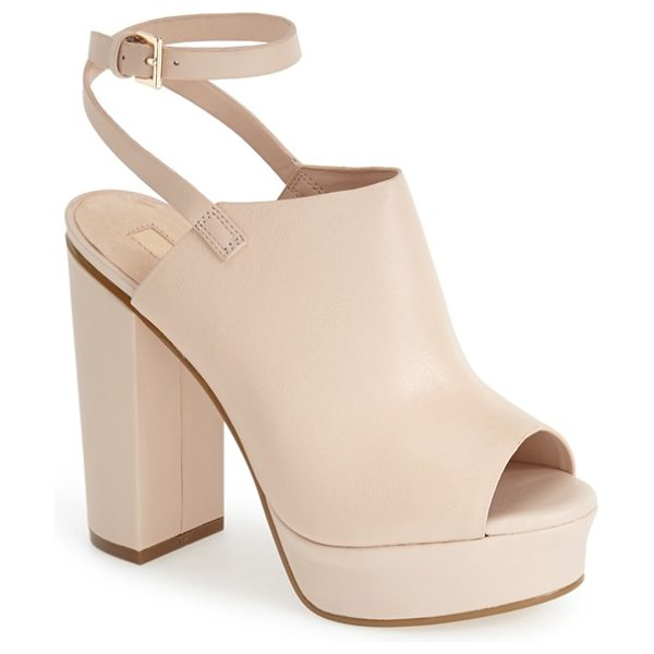 Topshop sagittarius leather ankle strap open toe platform sandal in nude