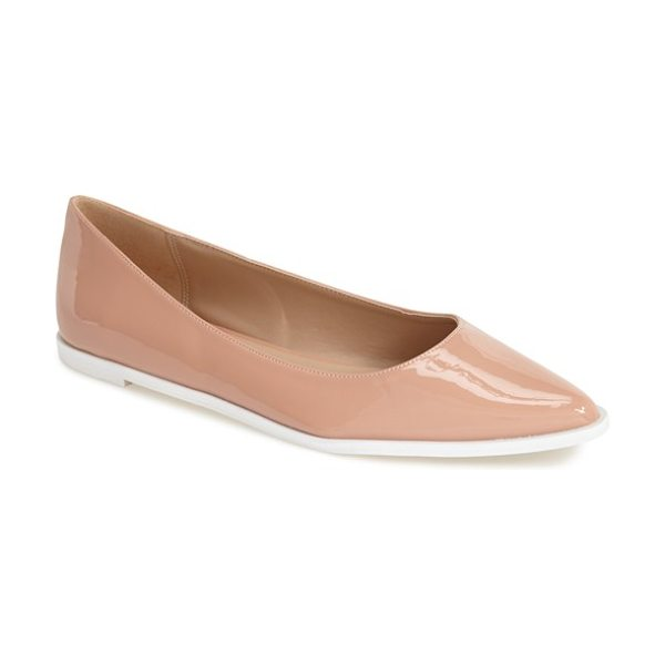 Topshop santiago ballet flat in nude - A stunning contrast sole heightens the street-savvy...
