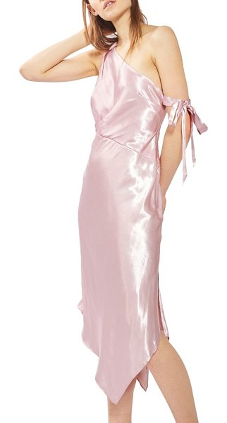 Topshop satin one-shoulder midi dress in pink - One darling tie hangs off the arm for an unkempt yet...