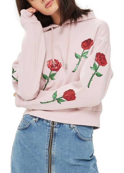 Topshop sequin rose applique hoodie in pink - Glittering rose appliques scatter glam romance over a...
