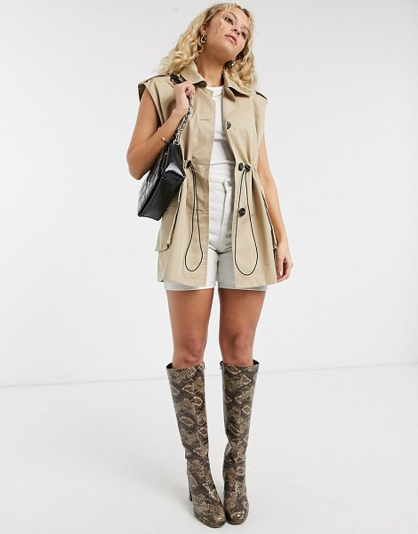Topshop sleeveless cropped trench coat in sand-beige in beige