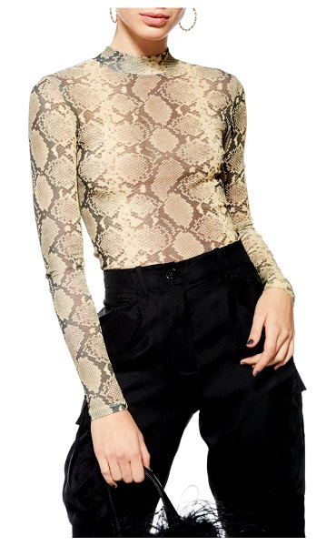 Topshop snake print top in beige - Sleek and shapely, this mesh snake-print top is cut with...