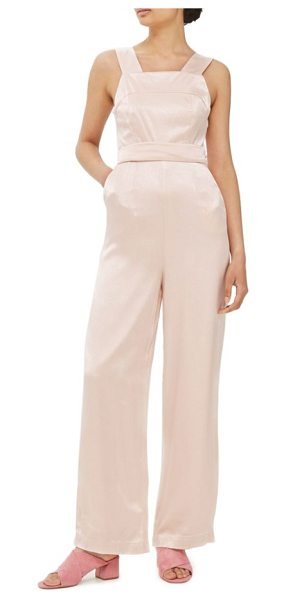 Topshop strap back satin jumpsuit in light pink - Femininity for the modern day, this pretty satin...