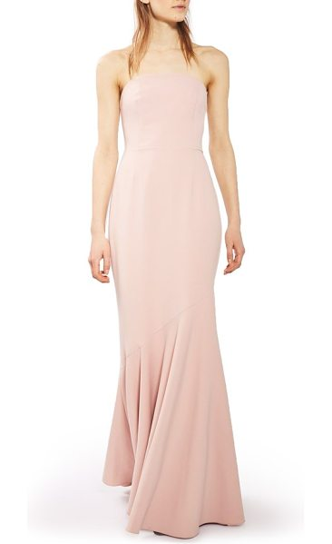 Topshop strapless crepe gown in blush - A bias-cut hemline ripples like a mermaid tail as you...