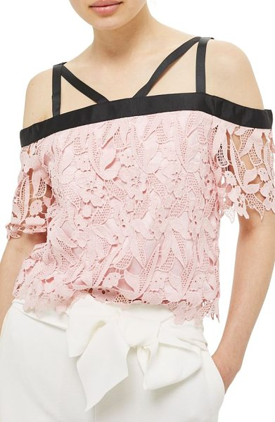 Topshop strappy lace top in light pink - Silky grosgrain ribbon encircles the neckline and...
