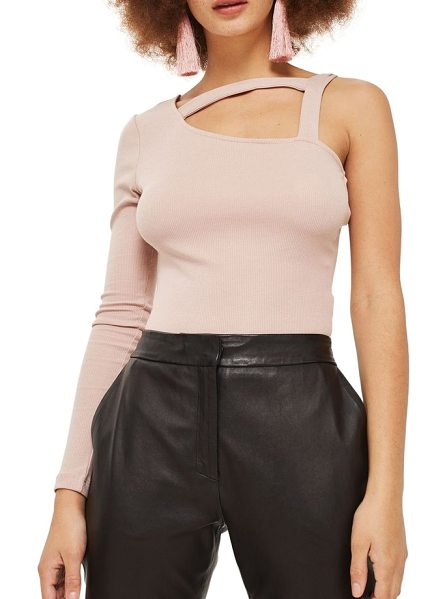 Topshop strappy one shoulder bodysuit in blush - Strappy detail along the one-shoulder neckline adds...