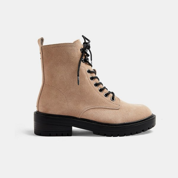 Topshop suede lace up boots in beige-neutral in neutral
