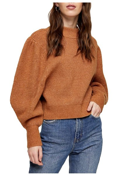 Topshop supersoft volume sleeve sweater in beige