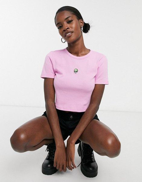 Topshop t-shirt with embroidered alien in pink in pink