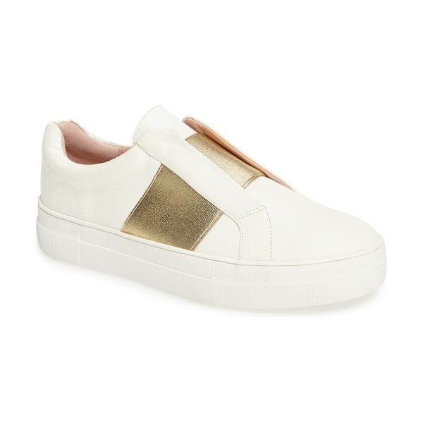 Topshop tangle trainer sneaker in white/ gold - A golden elastic band takes the place of laces on a...