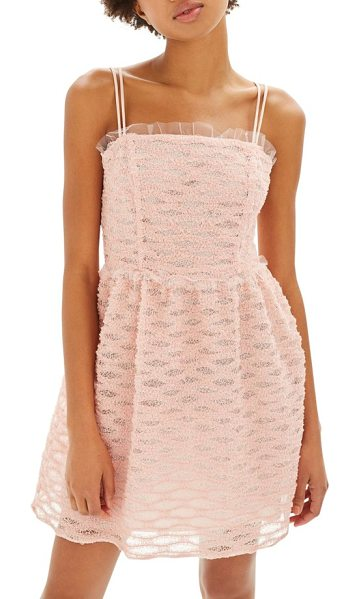 Topshop texture minidress in blush - Wavy texture like a pretty party garland covers a sweet...