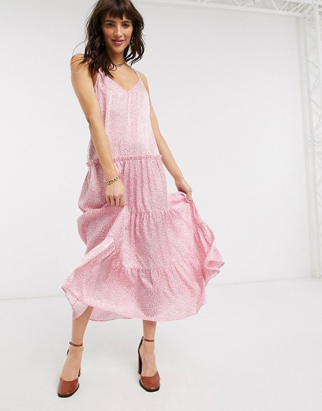 Topshop tiered cami midi dress in pink floral in pink