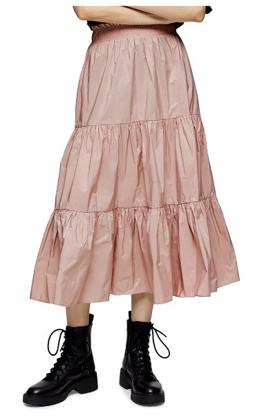 Topshop tiered taffeta midi skirt in pink