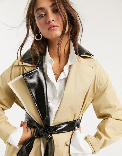 Topshop trench coat with vinyl panels in stone in stone