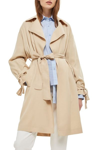 Topshop truster duster coat in stone - Lightweight, silky-soft fabric joins tie details and an...