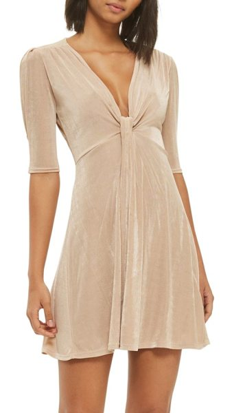 Topshop twist front skater dress in sand - Shoulder shirring ripples down to a knotted plunge...