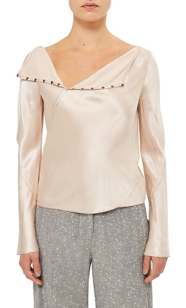 TOPSHOP Unique inspiral silk blouse in blush - Diagonal seams in rich burgundy stitching wrap the...