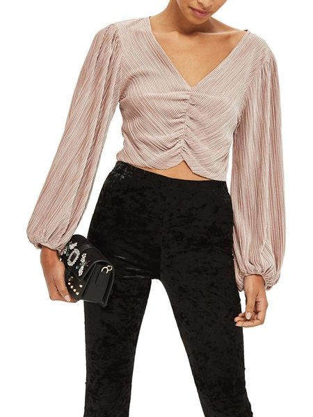 TOPSHOP velvet crinkle ruched blouse - Crinkled velvet brings an elegant feel and luster to a...