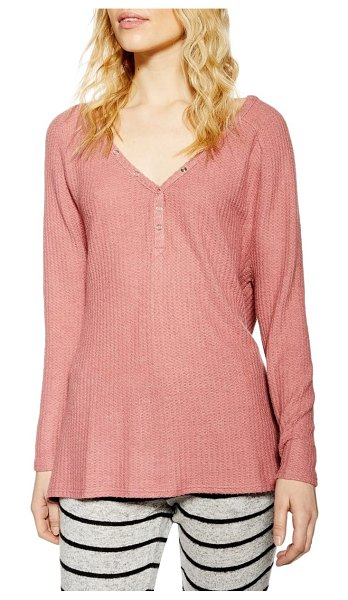 Topshop waffle henry shirt in pink - Keep it comfy without sacrificing style in this textured...