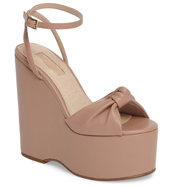 Topshop waltz knotted platform wedge in nude leather