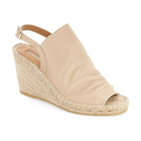 Topshop weekend espadrille wedge in nude - A supple, crinkled-leather vamp adds a bit of...