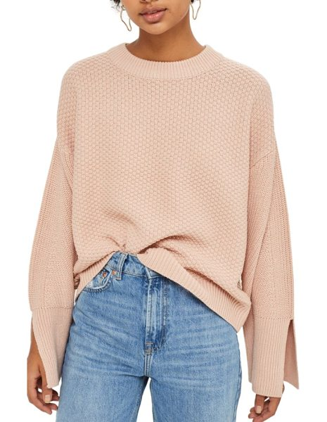 Topshop wide sleeve sweater in nude - Wide long sleeves with deeply split cuffs define the...