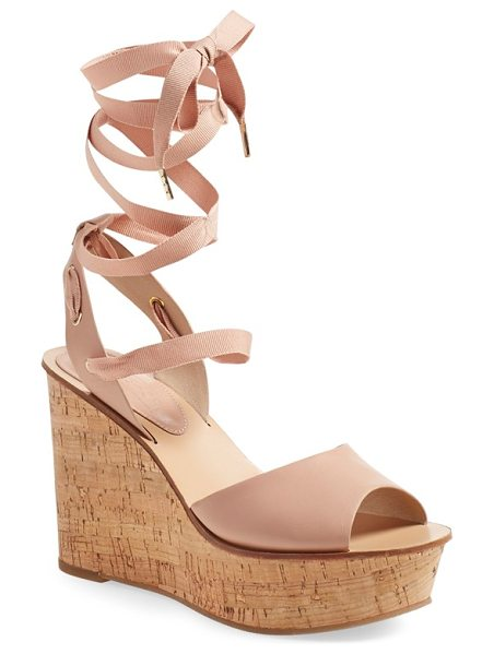 Topshop wise platform wedge sandal in nude - A lofty cork wedge amplifies the retro swagger of an...