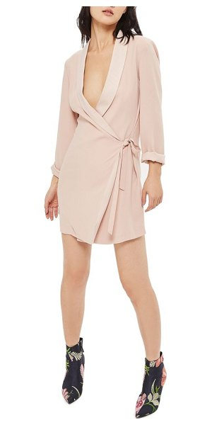 Topshop wrap blazer dress in blush - Your refreshments will always be served shaken (not...