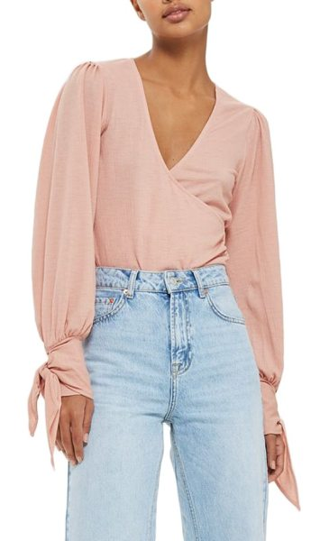 Topshop wrap front tie sleeve top in pink - Billowy long sleeves wrapped with flouncy ties at the...