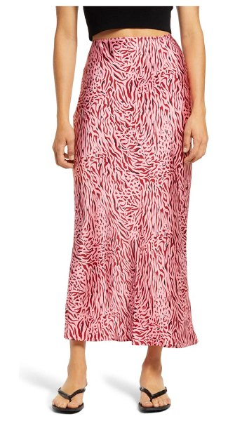 Topshop zebra bias skirt in pink