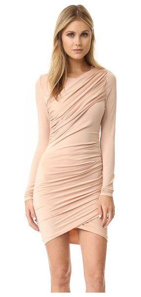 Torn by Ronny Kobo Ferguson dress in nude - Draping brings elegant asymmetry to this formfitting...