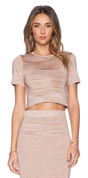 Torn by Ronny Kobo Freya crop top in blush - 84% rayon 12% spandex 4% poly. Dry clean only. Cut-out...