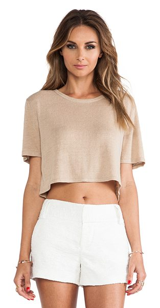 Torn by Ronny Kobo Nira crop tee in beige - Acrylic blend. TORN-WS148. 29-5064BUR. Torn between...