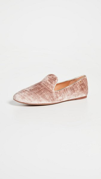 Tory Burch 5mm smoking slippers in mauve/spark gold