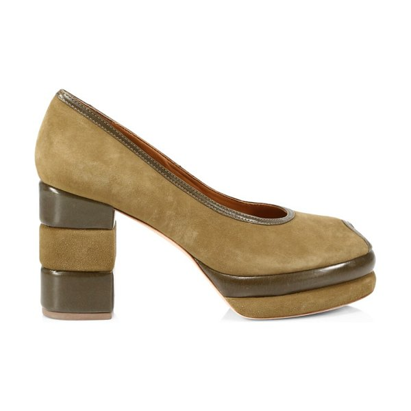 Tory Burch 70s peep-toe leather & suede platform pumps in tobacco /