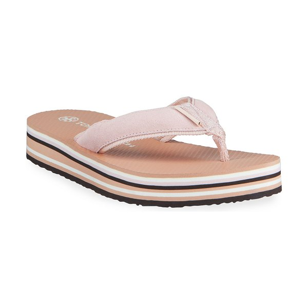Tory Burch 70s Suede Flatform Thong Sandals in camelia fired cl