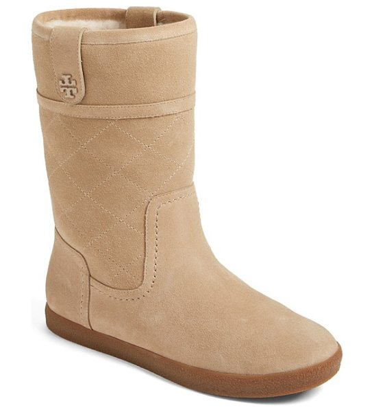 Tory Burch 'alana' genuine shearling boot in light camel - A diamond-quilted shaft and polished logo hardware...