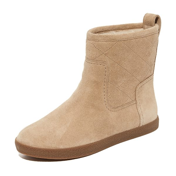 TORY BURCH alana shearling booties - Shearling lining adds warmth to these quilted suede Tory...